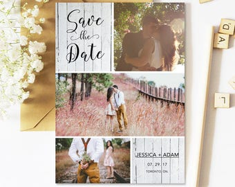 Save The Date Cards, Rustic, Postcard, Photo, Multiple Photo, Printable, Wedding Save The Date