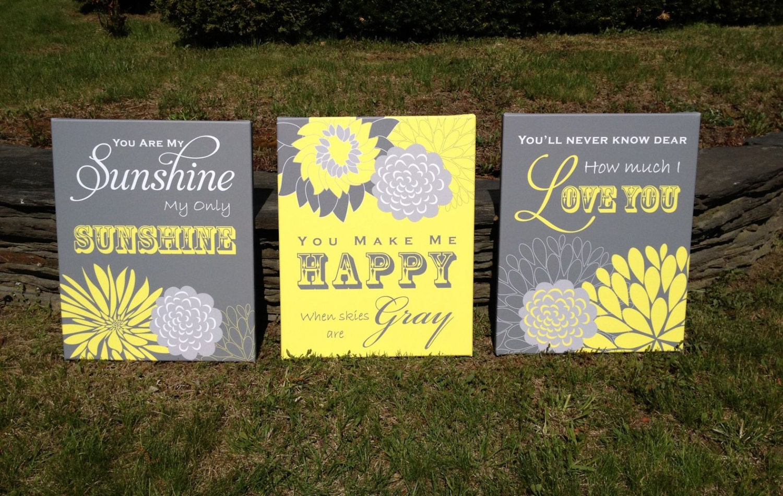 You Are My Sunshine Wall Art Flower Nursery Canvas Art Print