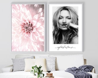 set of two, kate moss print, mustache wall art, dahlia photography, pink petaled flower poster, fashion celebrity art, bedroom, vanity decor