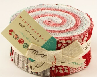 Winterberry cotton jelly roll by Kate and Birdie for Moda fabric