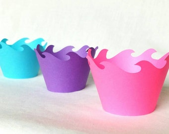 12 Count hot pink purple and aqua blue  wave cupcake wrappers princess cupcake wrappers mermaid cupcake wrappers