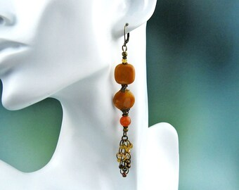 Orange Aventurine, Dangle Earrings, Carnelian, Semi Precious Stones, Victorian, Beaded Tassels, Gypsy Flavor, Antiqued Brass Wire, Handmade