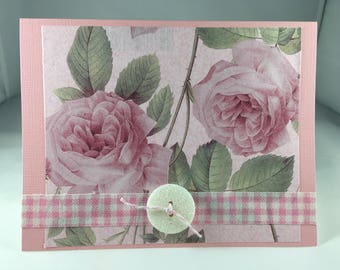 Pink Roses Blank Note Card  - Blank Inside