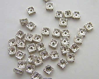Squaredelles 4 mm -Four (4) Crystal Silver