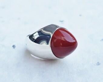 Red Jasper Ring, 925 Sterling Silver Ring, Signet Ring, Cabochon Ring,  Gemstone Ring, Round Ring, Red Gem Ring, Big Ring, Fashion Ring