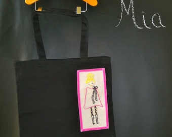 Canvas Tote - Hand Embroidered Mod Girl - Boutique Mia
