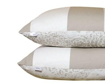 Grey/Taupe Damask Pillow - Stripe - Reversible - Cottage Decor - Farmhouse - Decorative Pillow - Ikat - 24x24 - Beach House - Chic Pillow