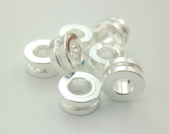 15pcs Shiny Silver Gear Wheel Large Hole Beads Spacers Leather Cord Rope 7mm in diamter 4mm Hole Tarnish Resistant Eco-friendly 0101-0616-2