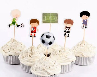 24pc.  Soccer Cupcake Toppers or Food Picks ~ Birthday Cake Decorations Party Supplies ~ Soccer Cupcake Toppers