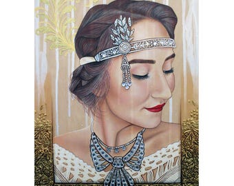 The 20s Reborn - Vintage Beauty Painting - ART PRINT - 8 x 10 - By Toronto Portrait Artist Malinda Prudhomme