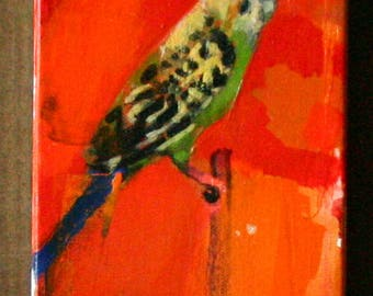 Oil Painting on Canvas Parakeet Small Painting Nature Aniimal Realism Original Art Hand Painted Orange By BobbieJansen on Etsy