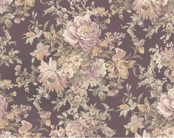 Japanese Taupe Fabric: Floral Bouquet - Mauve Taupe (By the Half Yd)