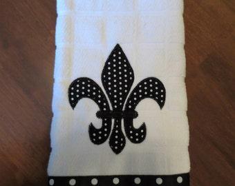 Fleur de Lis Black and White Machine Embroidered Kitchen Towel with Black and White Polka Dot Ribbon