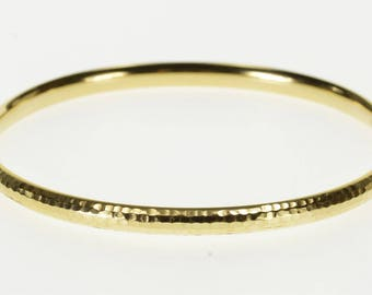 """14K Hammered Textured Rounded Oval Bangle Bracelet 7.5"""" Yellow Gold"""