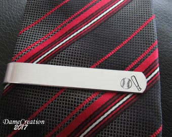 Baseball Tie Clip, Custom Tie Clip, Personalized Tie Bar, Groom Gift, Wedding Gift, Father of the Bride, Groomsman Gift, Fathers Day Gift