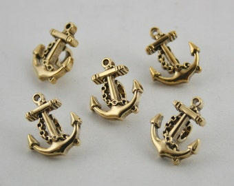 12 pcs Gold Vintage Anchors Buttons Sewing Buttons Shank 13 mm. BT Anch 212