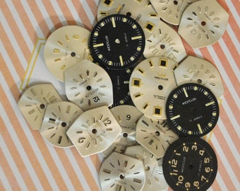 Vintage Watch Faces  Small  Watch Faces  20 in group Variety of Styles .. Shapes..Color  All Vintage in the Group