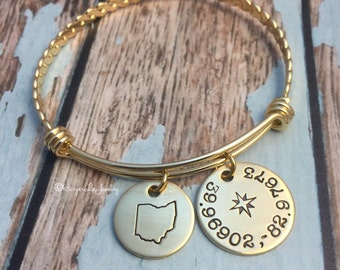 ALL 50 STATES ~ Wanderlust - Coordinates - Ohio ~ Michigan ~ Bangle Bracelet - Hand Stamped - Nautical - Adjustable Bangle- HarperLeeJewelry