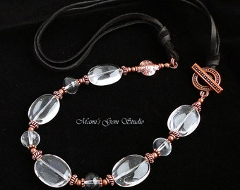 Rock Crystal Quartz Gemstone Deerskin Leather Necklace, Antiqued Copper, Handmade