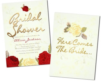 Romantic Red Floral Bridal Shower Invitations
