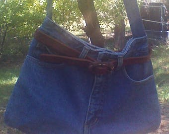 Blue Denim Jean Purse Upcycled from jeans