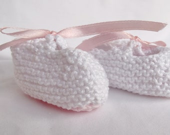 Handknitted Cotton Booties for Newborns - White and Pink