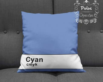 Sale !! CMYK Cyan - Pantone Pillow - Pillow Cover - Pillow Case - Cushion Case