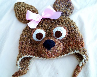 Baby Hat - Baby Dog Hat -  Newborn Girl Chihuahua Hat - Two toned Cute and Soft Earflap - by JoJosBootique