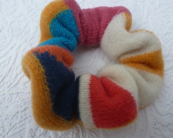 Colour block scrunchy large hair tie & elastic dread band hair accessory yellow blue pink pure wool large hairband soft gift eco-friendly UK