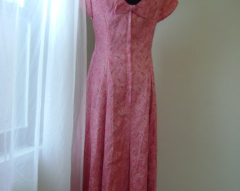 Pink and Silver Brocade Dress 1960s Tulip Sleeved