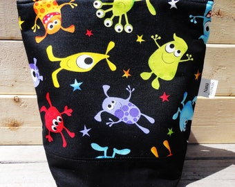 SALE Insulated Lunch Bag, Lunch Tote - Monster Print
