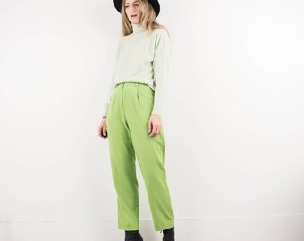 AMAZING Vintage Lime Green Tapered Trousers / S / hipster pants festival trousers boho boyfriend pants