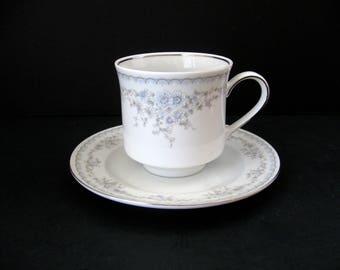 Johann Haviland Bavaria Germany / Teacup and Saucer / Pastel Floral Splendor Cup and Saucer