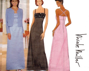 Butterick 6048 NICOLE MILLER Womens Elegant Prom Formal Dress & Evening Jacket 90s Sewing Pattern Size 6 8 10 UNCUT Factory Folded