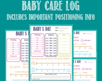 Baby Care Printable Log, nanny log, daycare notes, Tummy Time log, childcare log, new mom organization, flat head prevention
