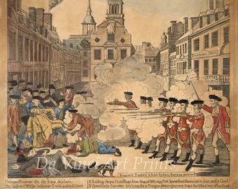 "American Art Reproductions -  Paul Revere's ""Bloody Boston Massacre"", 1770 . Fine Art Print."