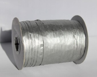 Silver Metallic Raffia Ribbon for Wedding Favors, Gift Wrapping and Packaging