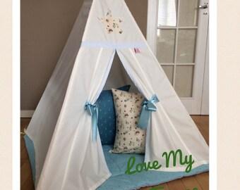 Personalised Childrens Teepee Peter Rabbit Floor Mat Cushions Blue u0026 Cream & Play Tents u0026 Playhouses | Etsy UK