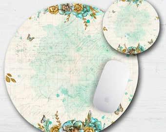Boho Butterfly Floral Mouse Pad Coaster Set - Drink Coaster - Bohemian Style - Butterflies - Floral - Gypsy - Back To School - Office Gift