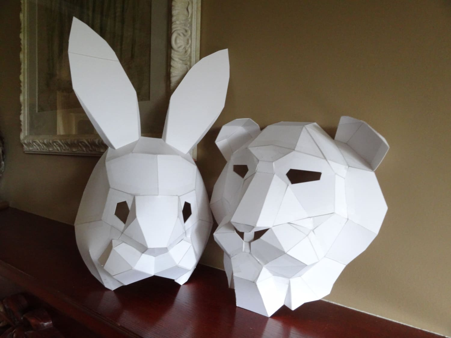 Pdf pattern make your own lion mask rabbit mask instant zoom pronofoot35fo Images