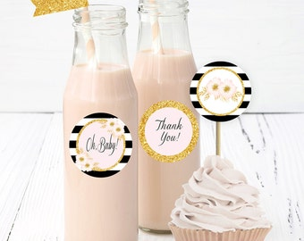 Black & Gold Cupcake topper, Stripes Baby Shower, Circle labels, Straw toppers, Baby shower decor, Party decor, Baby shower printables,BP-01