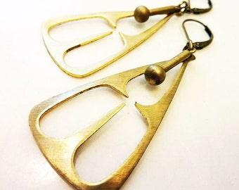Mod Pendulum Earrings, Cast Bronze, Solid Brass Dangle, Geometric Triangle, Cut Out Gold Pendant, Vintage Style