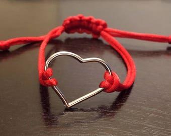 Red Heart Bracelet, Woven Bracelet Friendship Bracelet, Charm, Minimalist