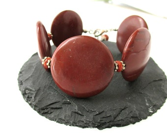 Gemstone Bracelet, Red Jasper Coin Bracelet, Chunky Gemstone Bracelet, Statement Bracelet, Organic Jewelry, Nature Jewelry, OOAK