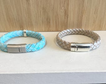 Leather braided bracelet, 2 colors in stock