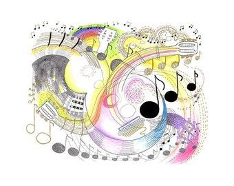 """music art print - """"Music Whirled"""""""