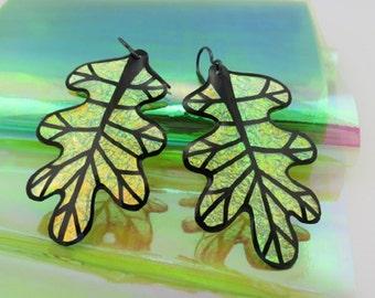 Autumn Iridescent & Transparant Leaf Earrings