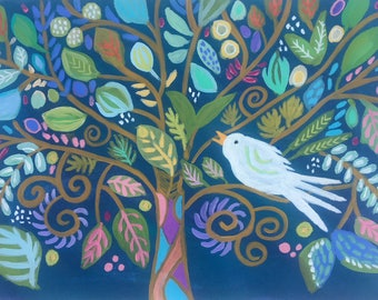 Tree of Life Bird Painting on 18 x 24 Paper by Karen Fields