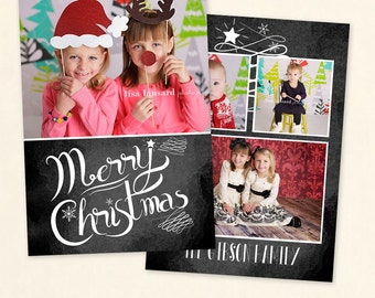 INSTANT DOWNLOAD 5x7 Christmas Card Photoshop Template - CA517