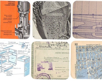 10 INDUSTRIAL DESIGN Scrap paper pack for collage or scrapbooking - Retro ephemera - Pieces of papers